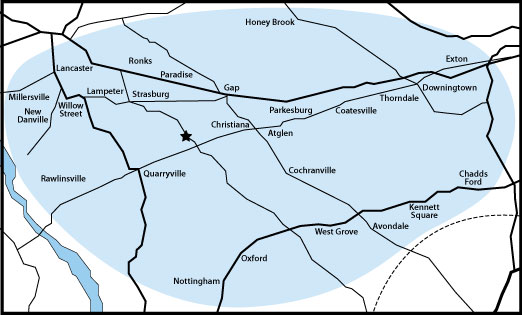 Lancaster and Chester County Heating Oil, Propane, and Kerosene Delivery Area